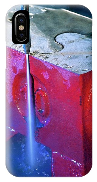 Anvil iPhone Case - Waterjet Cutting Through A Steel Anvil by Pascal Goetgheluck/science Photo Library