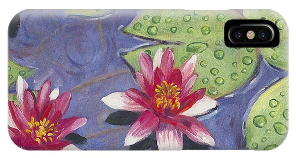 Waterlily iPhone Case - Waterlilies In The Rain by David Lloyd Glover