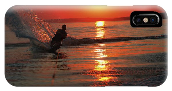 Water Ski iPhone Case - Waterskiing At Sunset by Misty Bedwell