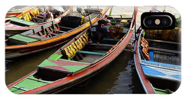 Watertaxis At The Yangon River Nan Thida Ferry Terminal Yangon Myanmar IPhone Case