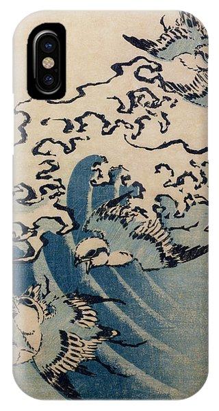 Swallow iPhone Case - Waves And Birds by Katsushika Hokusai