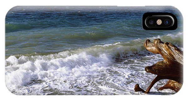 Whidbey iPhone Case - Waves And Driftwood On The Beach by Panoramic Images