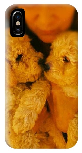 Love iPhone Case - Two Adorable Puppies by Blenda Studio