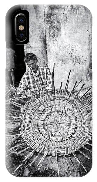 Indian Village iPhone Case - Weaving A Goat Pen Monochrome by Tim Gainey