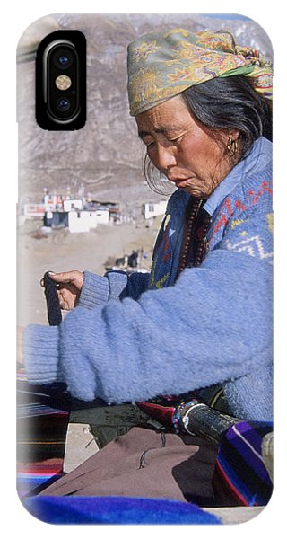 Weaving Scarves In Muktinath Phone Case by Richard Berry