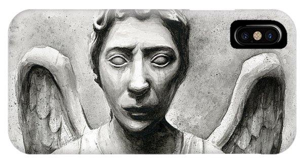 Science Fiction iPhone Case - Weeping Angel Don't Blink Doctor Who Fan Art by Olga Shvartsur