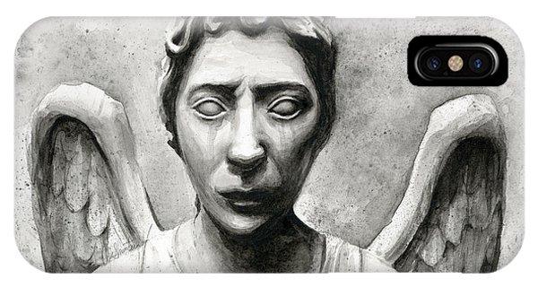 Doctor iPhone Case - Weeping Angel Don't Blink Doctor Who Fan Art by Olga Shvartsur