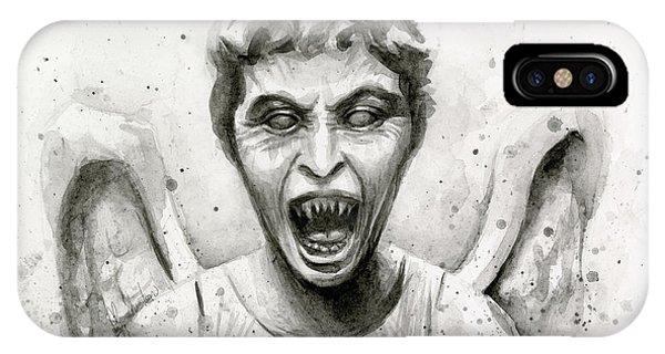 Doctor iPhone Case - Weeping Angel Watercolor - Don't Blink by Olga Shvartsur