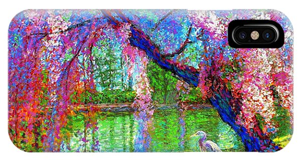 Sunny iPhone Case - Weeping Beauty, Cherry Blossom Tree And Heron by Jane Small
