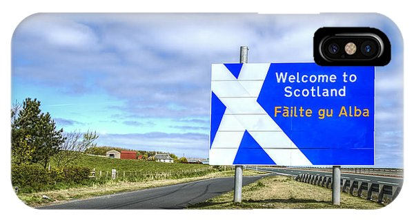 Road Signs iPhone Case - Welcome To Scotland by Evelina Kremsdorf