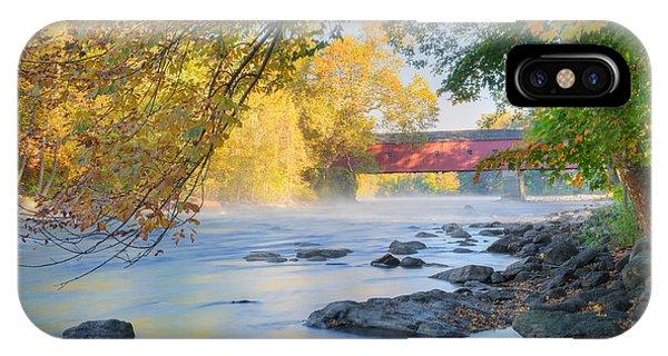 West Cornwall Covered Bridge Autumn IPhone Case