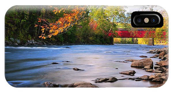 Bucolic iPhone Case - West Cornwall Covered Bridge- Autumn  by T-S Fine Art Landscape Photography