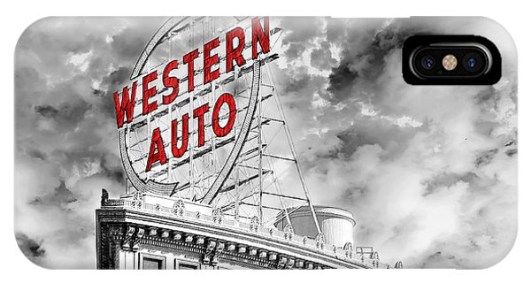 Western Auto Sign Downtown Kansas City B W IPhone Case