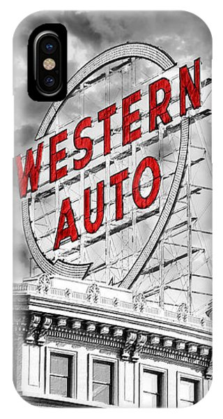 Western Auto Sign Downtown Kansas City B W IPhone Case