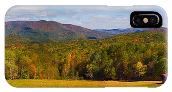 Western North Carolina Horses And Mountains Panorama IPhone Case
