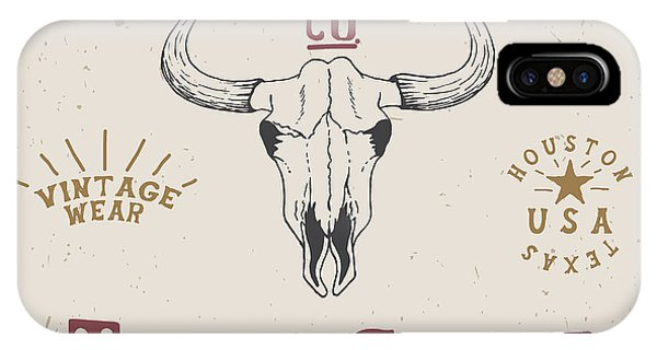 T Shirts iPhone Case - Western Old Label With Skull Of Bull by Dimonika