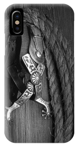 White Horse iPhone Case - Western Spurs by Tom Mc Nemar