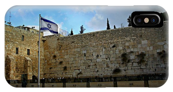 Spirituality iPhone Case - Western Wall And Israeli Flag by Stephen Stookey
