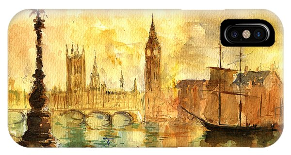 Ben iPhone Case - Westminster Palace London Thames by Juan  Bosco