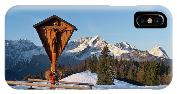Wood Carving iPhone Case - Wetterstein Mountain Range In Winter by Martin Zwick
