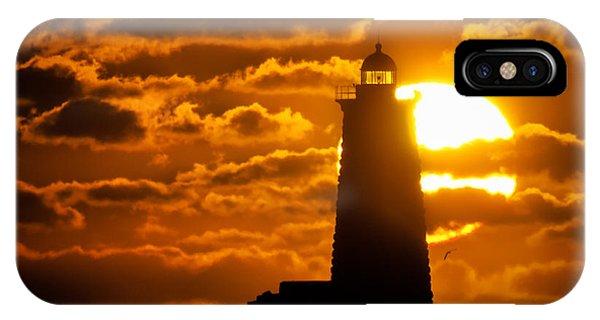 Nubble Light iPhone X Case - Whaleback Lighthouse Sunrise by Scott Thorp