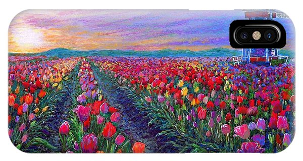 Impressionism iPhone X Case -  Tulip Fields, What Dreams May Come by Jane Small
