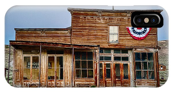 Bodie Ghost Town iPhone Case - Wheaton And Hollis Hotel At Blue Hour by Cat Connor
