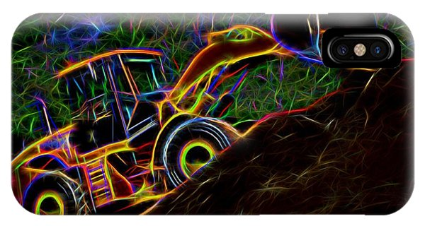 Wheel Loader Moving Dirt - Neon IPhone Case