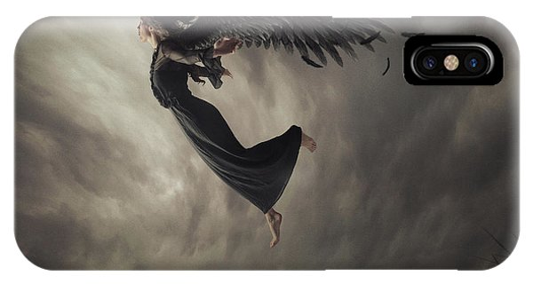 Wings iPhone Case - When The Angel Falls by Hardibudi