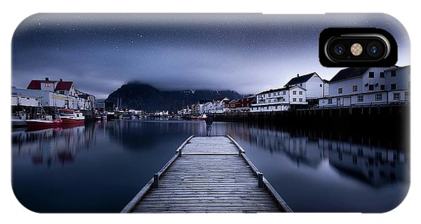 Docked Boats iPhone Case - When The Night Comes Falling From The Sky by Lior Yaakobi