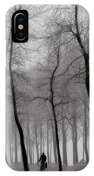 Alley iPhone Case - When Winter Knocks On The Door ... by Yvette Depaepe