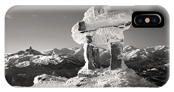 IPhone Case featuring the photograph Whistler Summit Inukshuk Black And White by Pierre Leclerc Photography