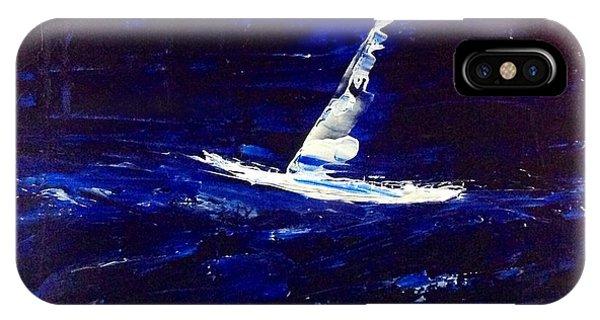 White Boat - Dark Sea And Sky IPhone Case