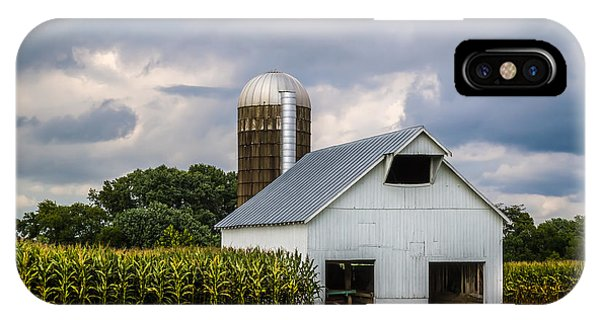 White Barn And Silo With Storm Clouds IPhone Case