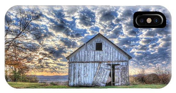 White Barn At Sunrise IPhone Case
