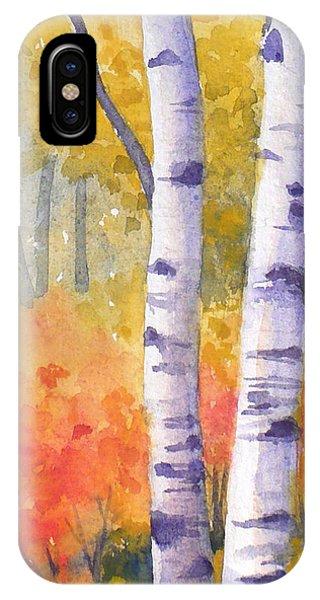 White Birches In Autumn IPhone Case