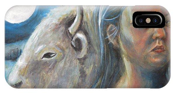 White Buffalo Portrait IPhone Case