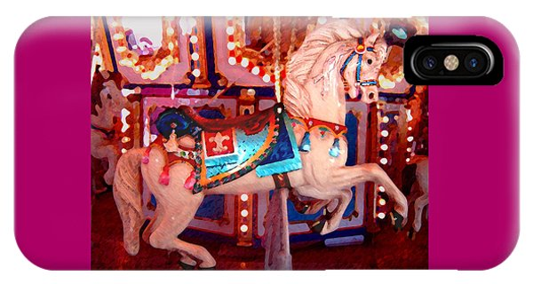 White Carousel Horse IPhone Case