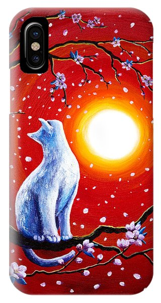 White Cat In Bright Sunset IPhone Case