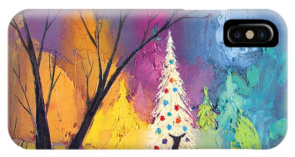 Christmas Tree iPhone Case - White Christmas Tree by Munir Alawi