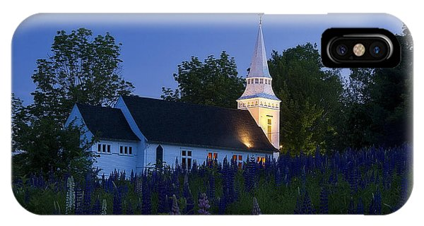 White Church At Dusk In A Field Of Lupines IPhone Case