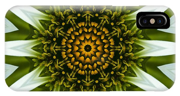 White Coneflower Mandala 12 IPhone Case