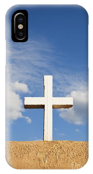 IPhone Case featuring the photograph White Cross On Adobe Wall by Bryan Mullennix