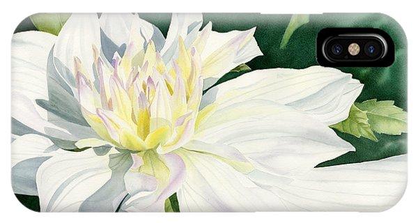 White Dahlia - Transparent Watercolor IPhone Case
