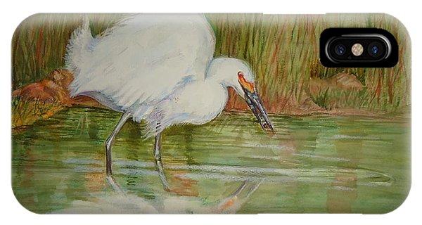 White Egret Wading  IPhone Case