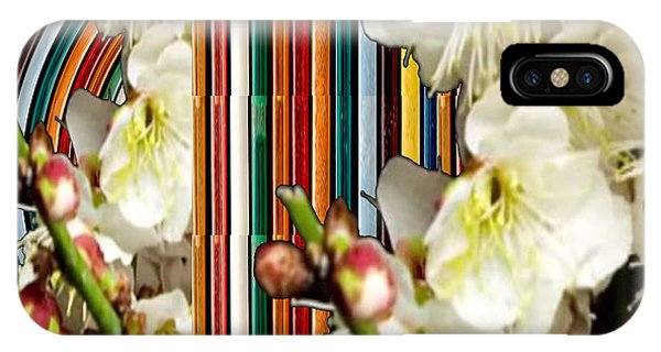 White Flower Medley Colorful Rainbow Stripes On The Backdrop Artist Navinjoshi  IPhone Case