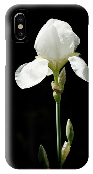 White Flower On Black IPhone Case