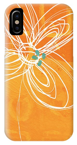 Cute iPhone Case - White Flower On Orange by Linda Woods