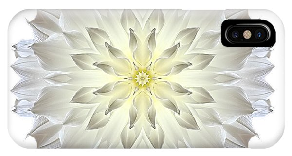 Giant White Dahlia I Flower Mandala White IPhone Case
