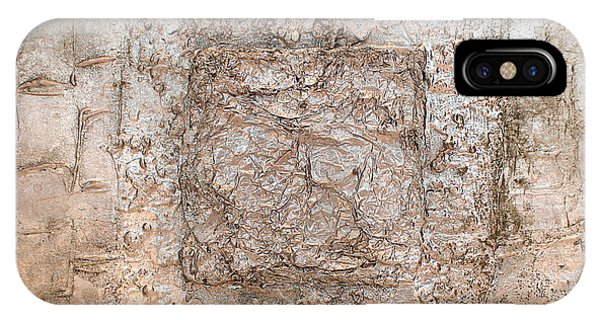 White Gold Mixed Media Triptych Part 2 IPhone Case
